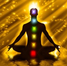 chakras on person gold backdrop