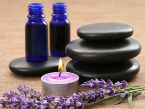 candle, lavender, stones, bottles